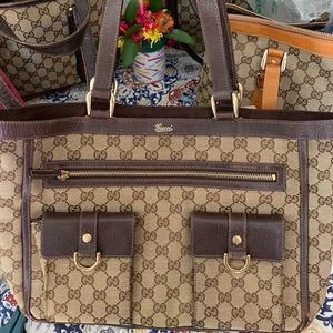 Auth Gucci GG canvas/ leather double pocket tote